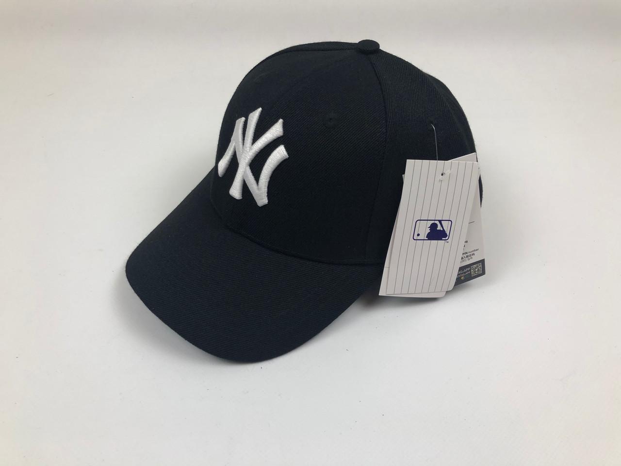 Кепка Бейсболка Мужская Женская MLB New York Yankees NY Черная с Белым лого