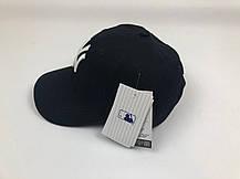 Кепка Бейсболка Мужская Женская MLB New York Yankees NY Черная с Белым лого, фото 3