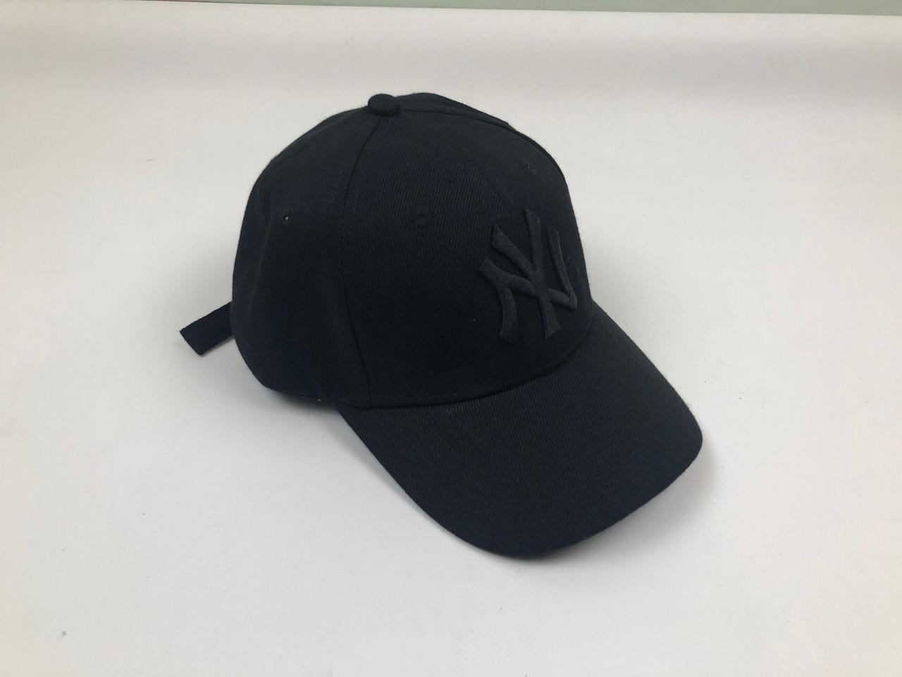 Кепка Бейсболка Мужская Женская MLB New York Yankees NY Черная с Черным лого