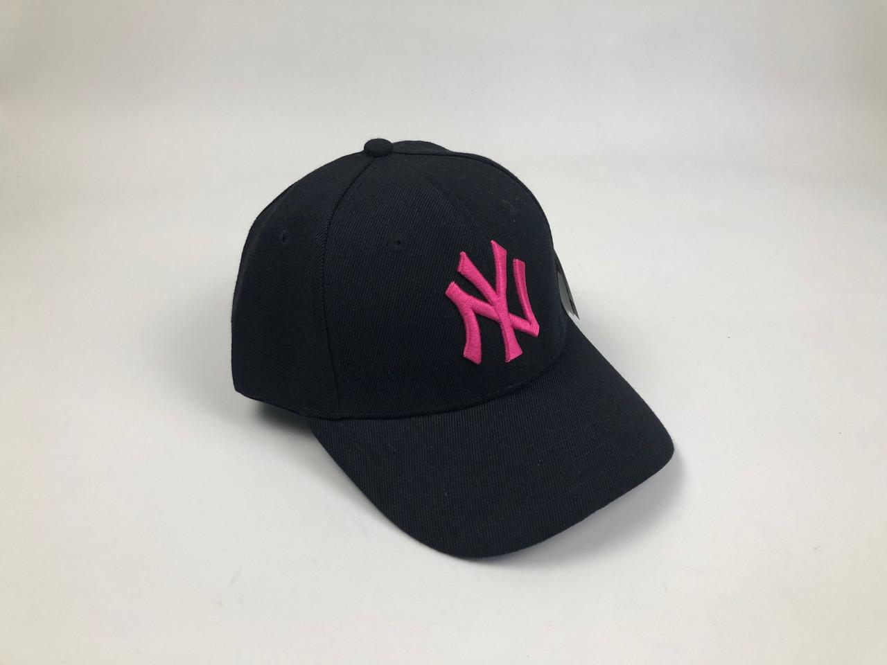 Кепка Бейсболка Мужская Женская MLB New York Yankees NY Черная с Розовым лого