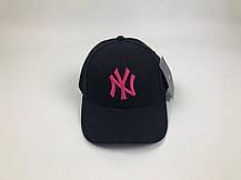 Кепка Бейсболка Мужская Женская MLB New York Yankees NY Черная с Розовым лого, фото 2