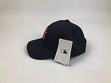 Кепка Бейсболка Мужская Женская MLB New York Yankees NY Черная с Розовым лого, фото 3