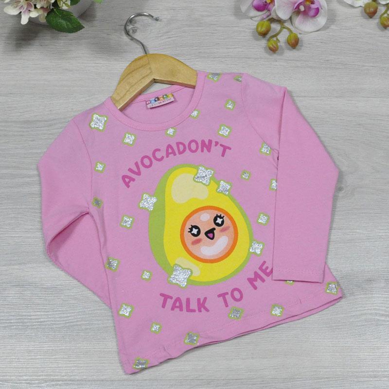 Батник трикотажный, для девочек  1-8 лет ( 4 ед в уп), Розовый