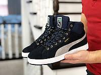 Кросівки чоловічі в стилі Puma Suede темно сині ( зима )
