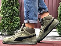 Кросівки чоловічі в стилі Puma Suede темно зелені ( зима )