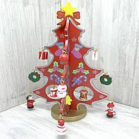 Деревянная игрушка Маленькая настольная Новогодняя Елка с игрушками (красная), развивающие товары для детей.
