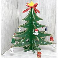 Деревянная игрушка Настольная Новогодняя Елка с игрушками (зелёная), средняя, развивающие товары для детей.