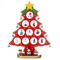 Деревянная игрушка Настольная Новогодняя Елка с игрушками (красная), большая, развивающие товары для детей.