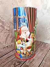 Новогодняя коробка тубус для конфет Санта Клаус 1 кг