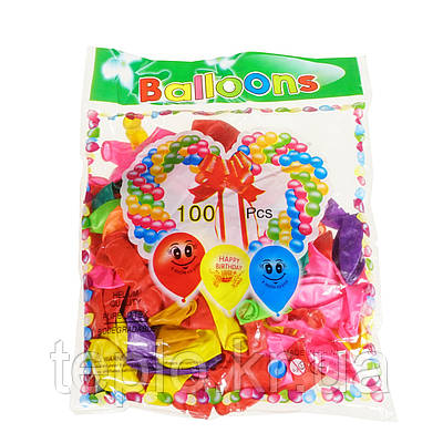 Набор латексных воздушных шаров для надувания воздухом или гелием 100 шт разноцветных