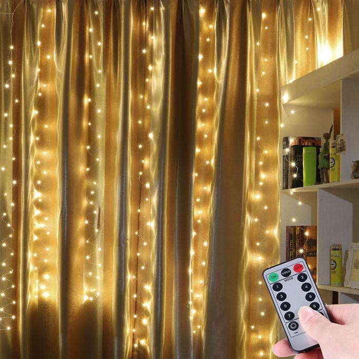 """Светлодиодная гирлянда штора занавес """"Светодиодные нити"""" 3 х 2 м, с пультом ДУ, USB, теплый белый"""