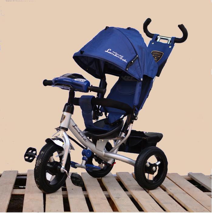 Велосипед трехколесный Azimut Ламборджини с фарой надувные колёса Синий