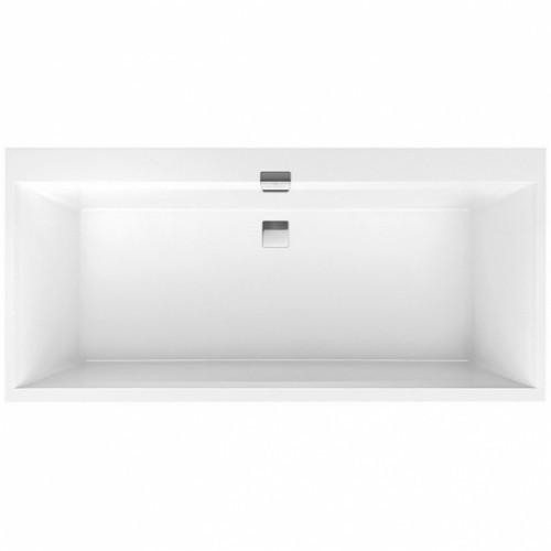 SQUARO EDGE 12 ванна 180*80см, с ножками и сливом-переливом, цвет white alpin
