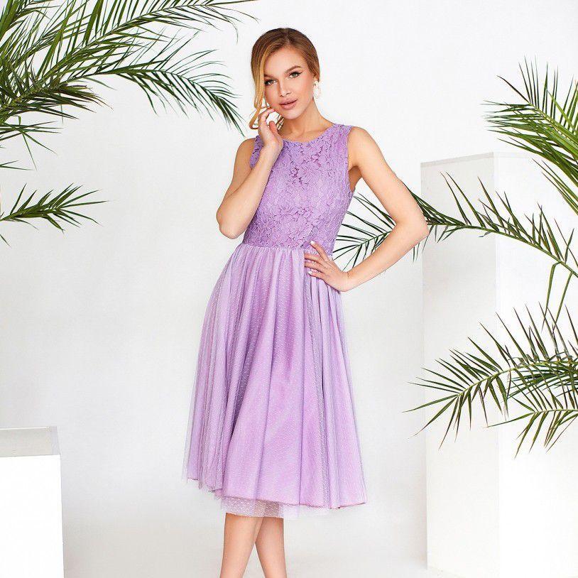 Сиреневое вечернее платье №3143-сиреневый Размеры 42,44,46,48,