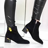 Эффектные замшевые ботинки ботильоны на удобном каблуке с декором, фото 7