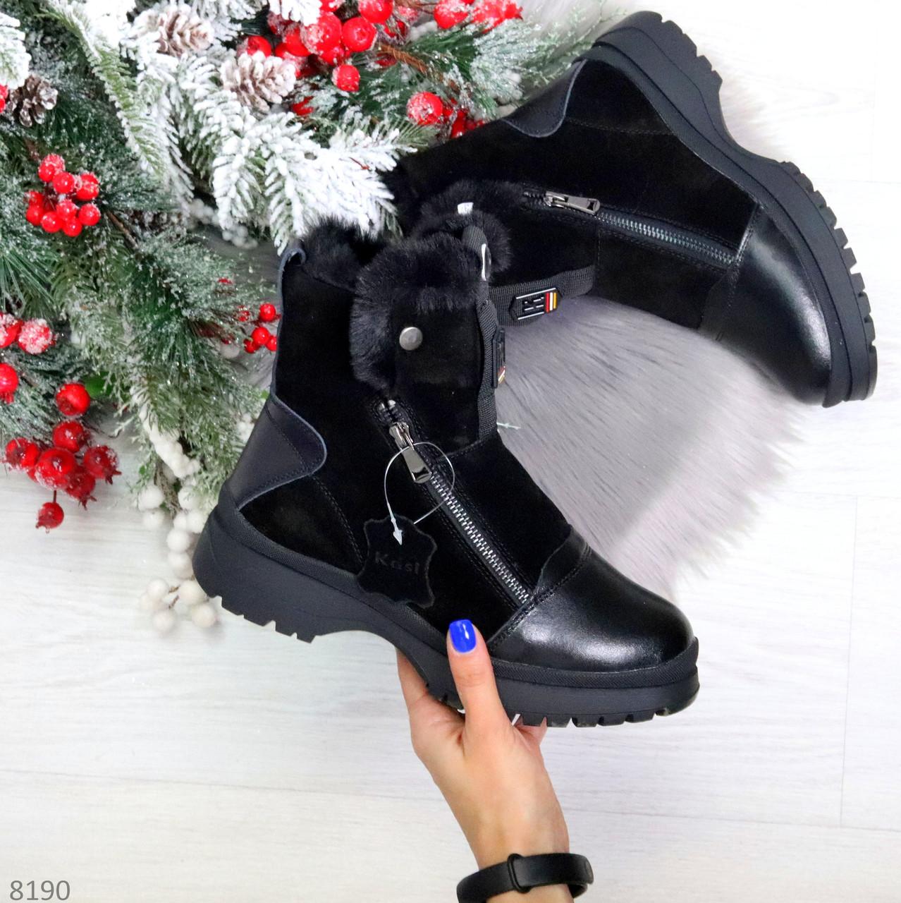 Дизайнерские зимние черные женские ботинки натуральная кожа / замша 41-25,5см