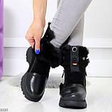 Дизайнерские зимние черные женские ботинки натуральная кожа / замша 41-25,5см, фото 2