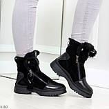 Дизайнерские зимние черные женские ботинки натуральная кожа / замша 41-25,5см, фото 5