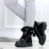 Дизайнерские зимние черные женские ботинки натуральная кожа / замша 41-25,5см, фото 6