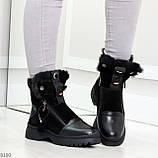 Дизайнерские зимние черные женские ботинки натуральная кожа / замша 41-25,5см, фото 7