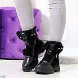 Дизайнерские зимние черные женские ботинки натуральная кожа / замша 41-25,5см, фото 8