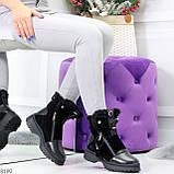 Дизайнерские зимние черные женские ботинки натуральная кожа / замша 41-25,5см, фото 9