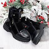 Дизайнерские зимние черные женские ботинки натуральная кожа / замша 41-25,5см, фото 10