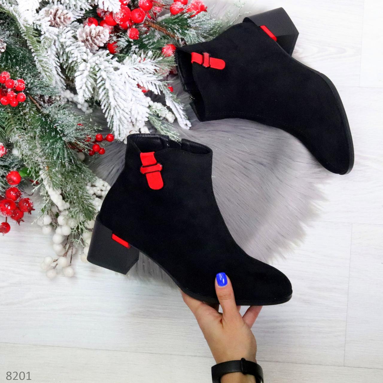 Яркие модельные черные женские ботинки ботильоны на флисе