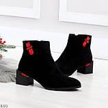 Яркие модельные черные женские ботинки ботильоны на флисе, фото 2