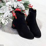 Яркие модельные черные женские ботинки ботильоны на флисе, фото 7