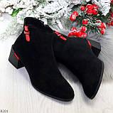 Яркие модельные черные женские ботинки ботильоны на флисе, фото 9
