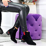 Яркие модельные черные женские ботинки ботильоны на флисе, фото 10