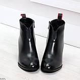 Элегантные черные демисезонные женские ботинки ботильоны на флисе, фото 3