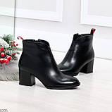 Элегантные черные демисезонные женские ботинки ботильоны на флисе, фото 4