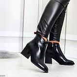 Элегантные черные демисезонные женские ботинки ботильоны на флисе, фото 6