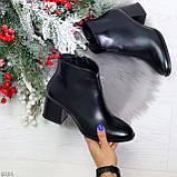 Элегантные черные демисезонные женские ботинки ботильоны на флисе, фото 9