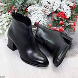 Элегантные черные демисезонные женские ботинки ботильоны на флисе, фото 10