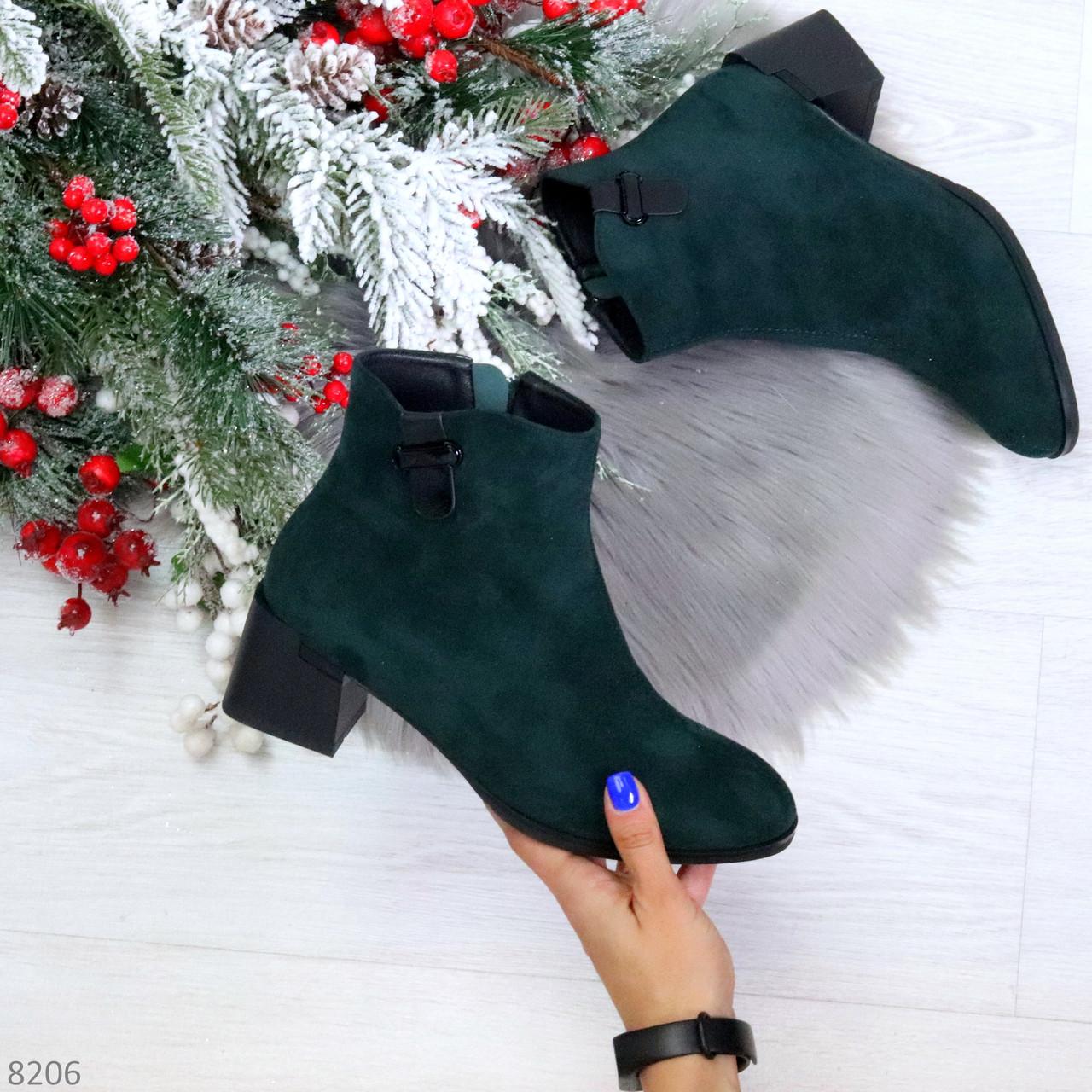Элегантные изумрудные замшевые женские ботинки ботильоны на флисе
