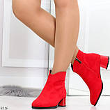 Элегантные яркие красные замшевые женские ботинки ботильоны на флисе, фото 2