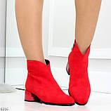 Элегантные яркие красные замшевые женские ботинки ботильоны на флисе, фото 8