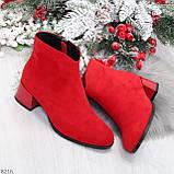 Элегантные яркие красные замшевые женские ботинки ботильоны на флисе, фото 10