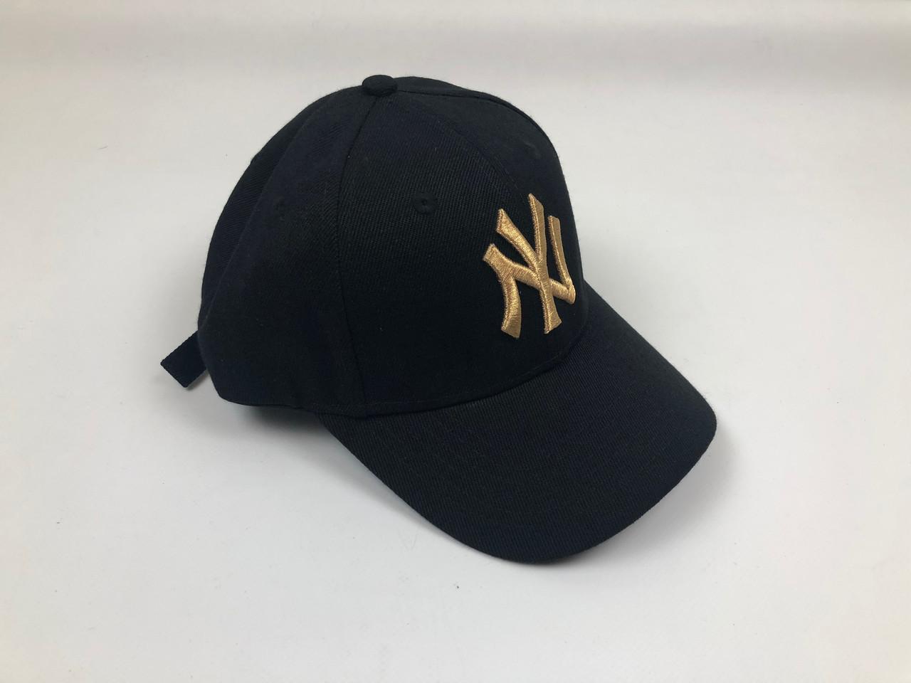 Кепка Бейсболка Мужская Женская MLB New York Yankees NY Черная с Золотым лого