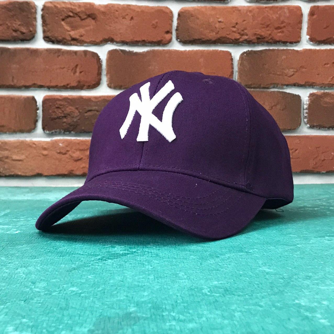 Кепка Бейсболка Мужская Женская MLB New York Yankees NY Фиолетовая с Белым лого