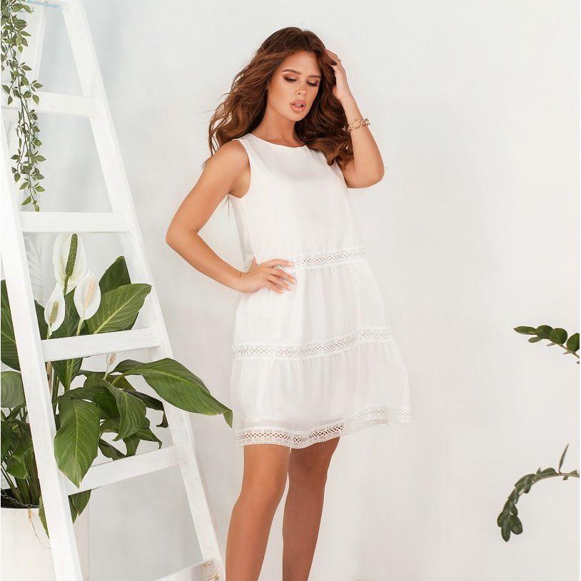 Сукня №4127-молочний Розміри 42, 46,