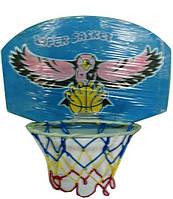 Баскетбольный щит с кольцом и сеткой, деревянный