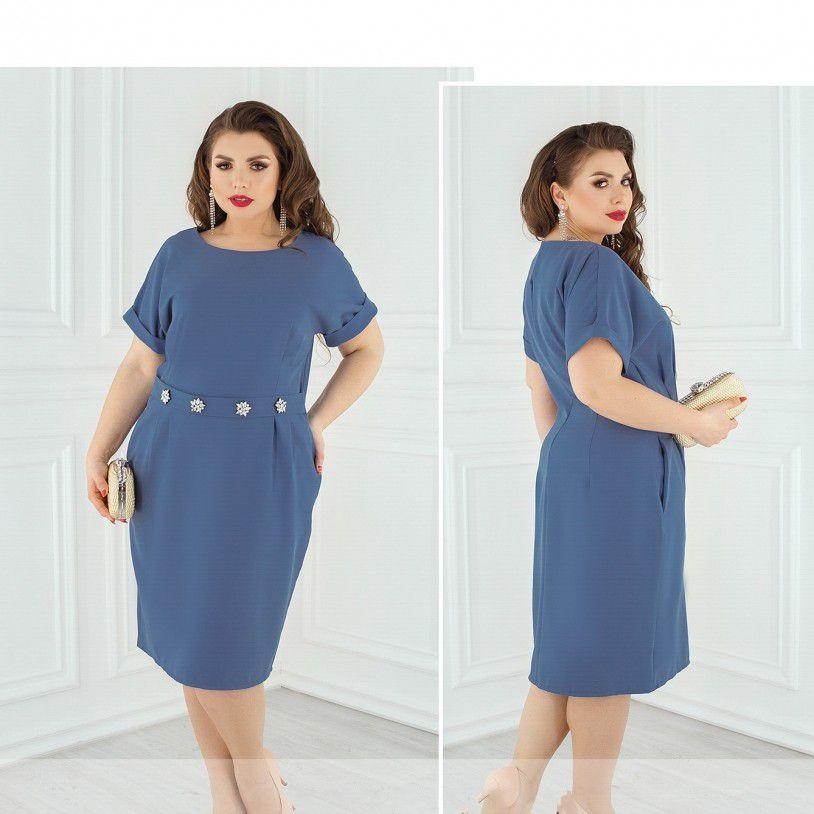 Шикарное летнее платье по фигуре с акцентом на талии№8611-джинс,размер 58,60