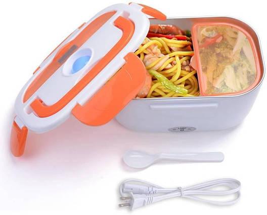 Электрический термо ланч-бокс Electric Lunch Box YY-3168 с подогревом Оранжевый (up343), фото 2