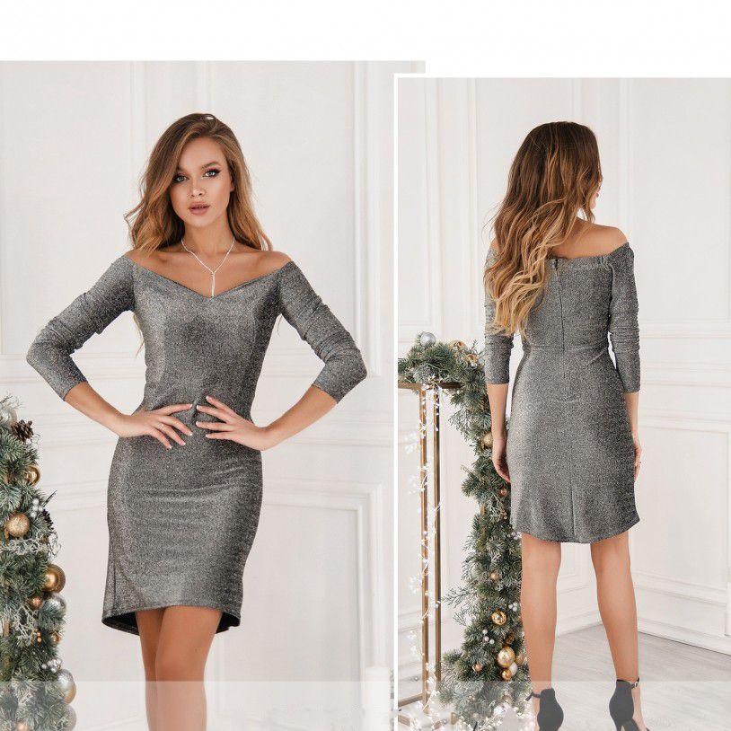 Платье №15391-серебро Размеры 42,46,