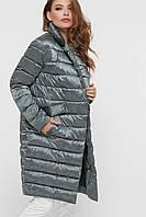 Трендовая стеганая куртка на запАх серого цвета LS-8867-30