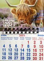 Календарь с магнитом на спирали А7 формата на 2021 Год Быка